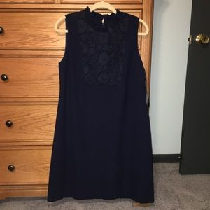 NWT Karl Lagerfeld Navy Blue Lace Detail Dress 12